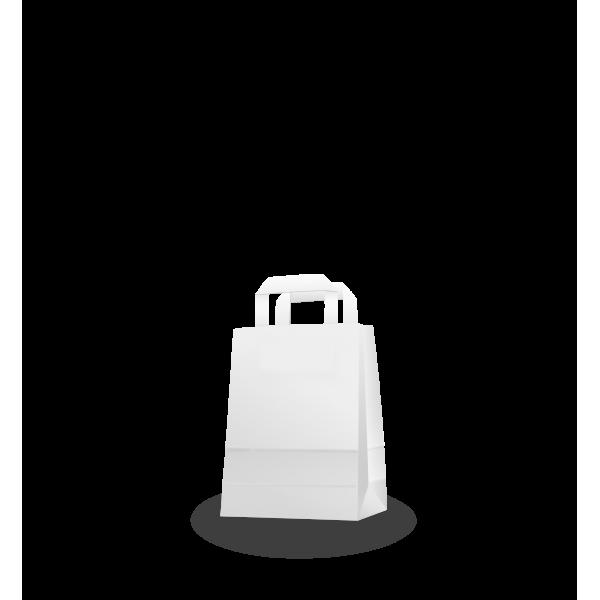 Szalagfüles fehér papírtáska 18*22+8 cm