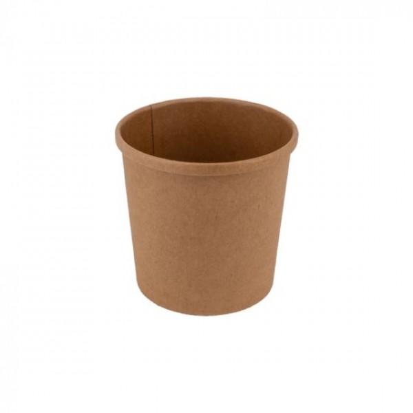 Komposztálható leveses papírtégely KRAFT 350 ml 25db/csomag