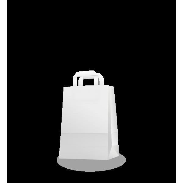 Szalagfüles fehér papírtáska 22*28+10 cm