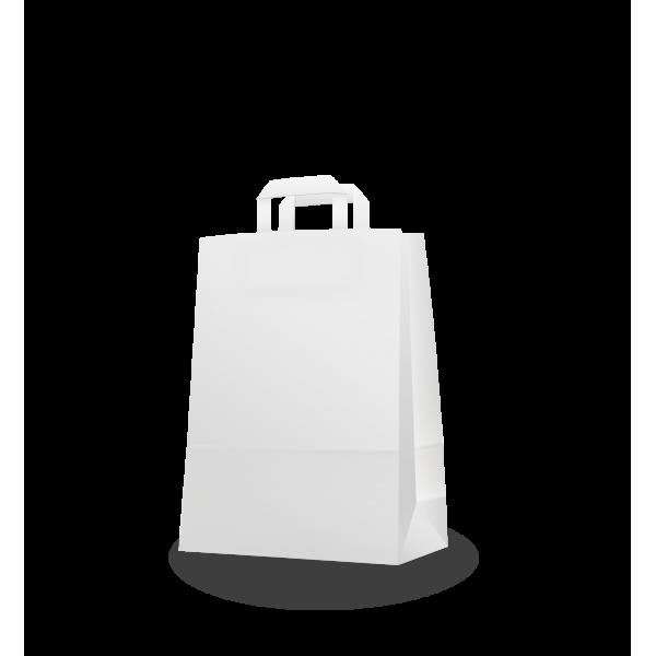 Szalagfüles fehér papírtáska 26*35+12 cm