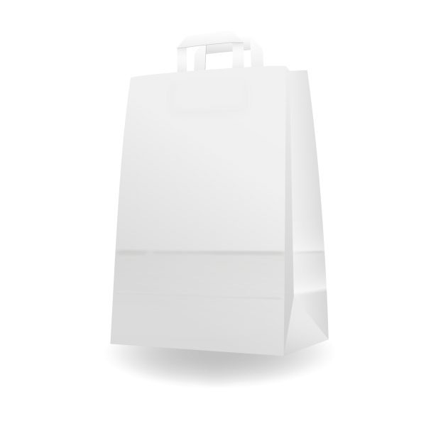 Szalagfüles fehér papírtáska 32*43+17 cm