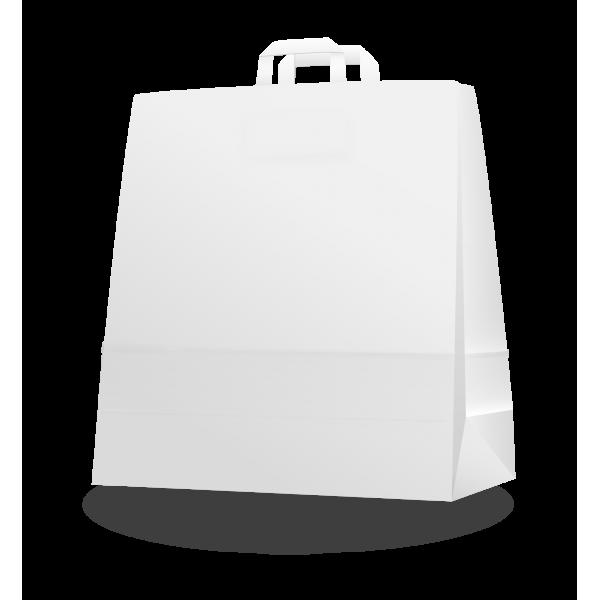 Szalagfüles fehér papírtáska 45*48+17 cm