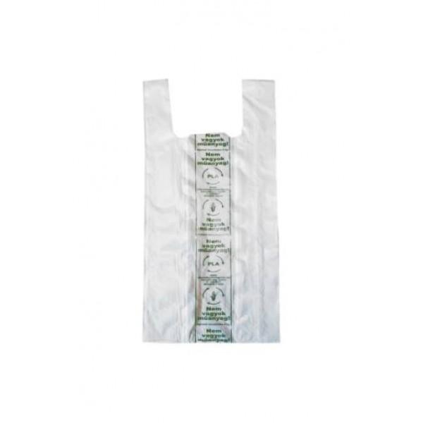 Kukoricakeményítő alapú PLA ingvállas tasak 190+2*60*450*0,012 mm  100db/csomag